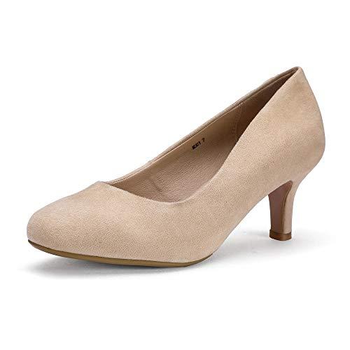IDIFU Women's RO2 Basic Round Toe Mid Heel Pump Shoes (Nude Suede, 11 B(M) US)