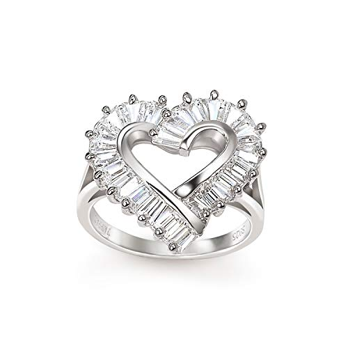 Ring Baguette Heart (Sterling Silver CZ Open Heart Statement Ring - 7)