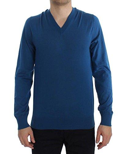 (Dolce & Gabbana Blue Cashmere V-Neck Pullover)