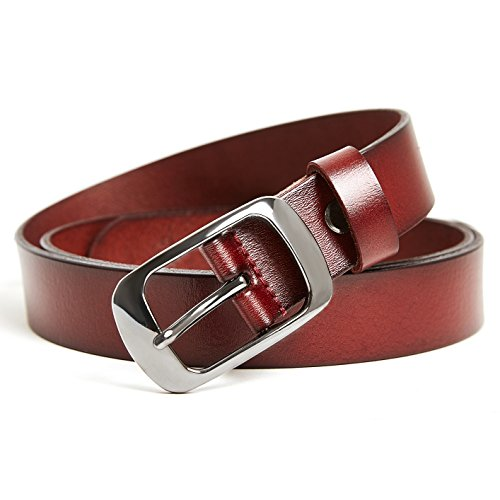 Women's Adjustable Leather Belts Ladies Casual Belts for Jeans Shorts Pants Summer Dress for Women With Alloy Pin Buckle By HBY - Red - Store Apparel Alloy