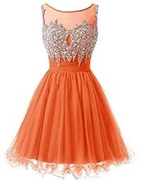 Dresstells® Short Tulle Homecoming Dress Prom Dress Beaded Bridesmaid Dress