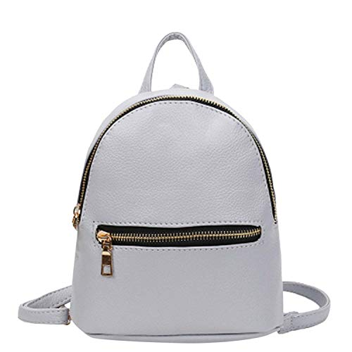 Women Mini Backpack Pu Leather College Shoulder Satchel School Rucksack Casual Travel Bag,Gray