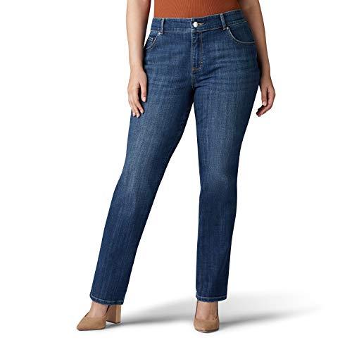 LEE Women's Plus Size Relaxed Fit Straight Leg Jean, Jaded, 16W - Jeans Wide Leg Lightweight