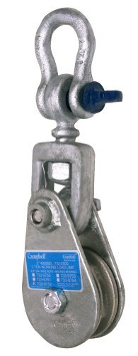 Campbell 4099NC 4-1/2 Single Steel Drop Side Snatch Block with No connection, 4 ton Load Capacity, 4-1/2 Sheave by Apex Tool Group
