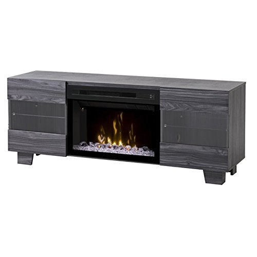 Max Media Console with Multi-fire glass ember bed firebox- W