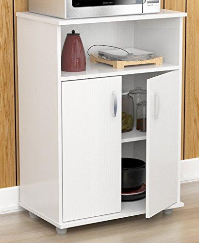 Inval MM-0207 Stationary Kitchen Carts, (Oak Finish Microwave Cart)