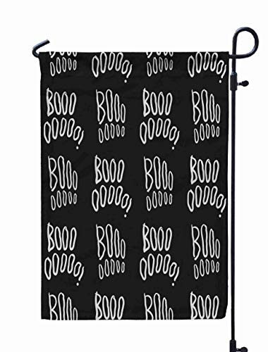 GROOTEY Garden Flags with,Home Yard Decorative 12X18 Inches Pattern Handwritten Boo Repeating Doodle Texture Halloween Black White Creative Background Cute Double Sided Seasonal Garden Flags]()
