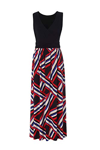 BEAUTIFUL-LIFE Summer Dresses Summer Dresses for Women Maxi Dresses Maxi Dresses (X-Large, Black&Red)