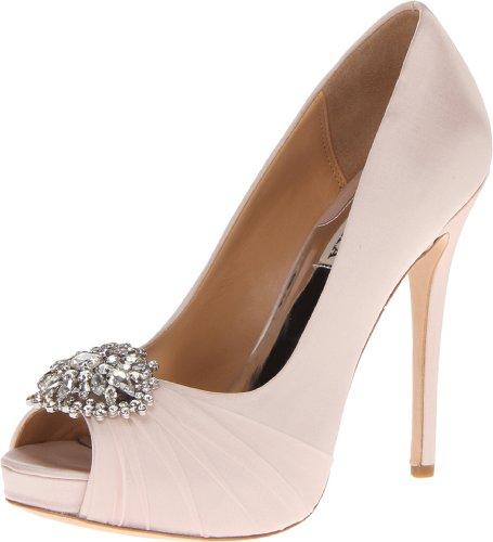 Badgley Mischka Women's Pettal Platform Pump,Light Pink,10 M (Light Pink Leather Footwear)