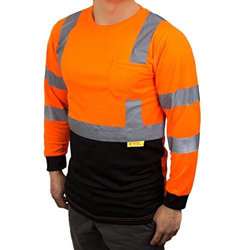 NY BFL8711 High-Visibility Class 3 T Shirt with Moisture Wicking Mesh Birdseye, Black Bottom (3X, Orange)