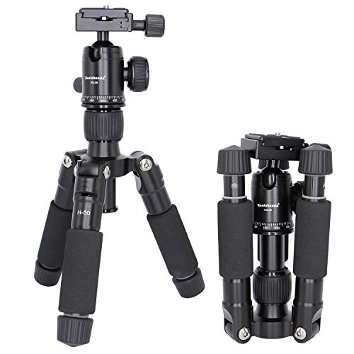 Koolehaoda Travel Portable H-50 Mini Tripod Compact Desktop Macro Mini Tripod with Ball Head for DSLR Camera Canon Nikon (H-50)