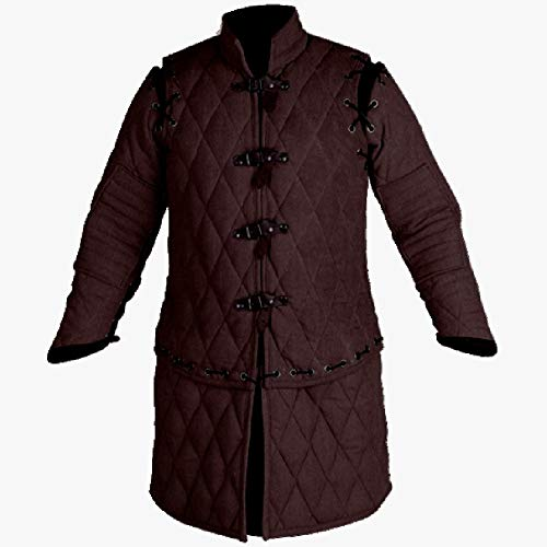 Medieval Thick Padded Full Sleeves Gambeson Coat Aketon Jacket Armor, Cotton Fabric Black- 2X-Large