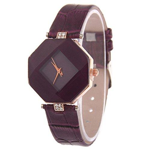Women Fashion PU Leather Wrist Watch Rhombus Rhinestone Analog Quartz Dress Watches - Dial Marks Roman