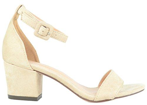 Cambridge Select Womens Open Toe Single Bank Ankle Strappy Block Mid Heel Nude Imsu 2rcLj3Ca54
