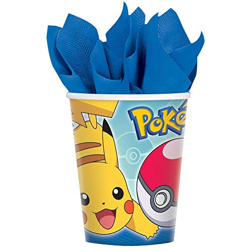 amscan Electrifyingly Cute Pikachu & Friends Birthday Party Paper Cups (8 Pack), 9 oz, Blue
