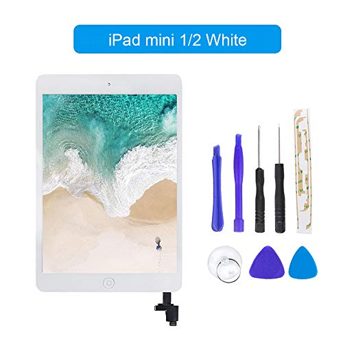 for iPad Mini 1 / iPad Mini2 Front Glass Replacement/Touch Screen Digitizer with IC Chip & Repair Tool Kit -White 7.9 Inch