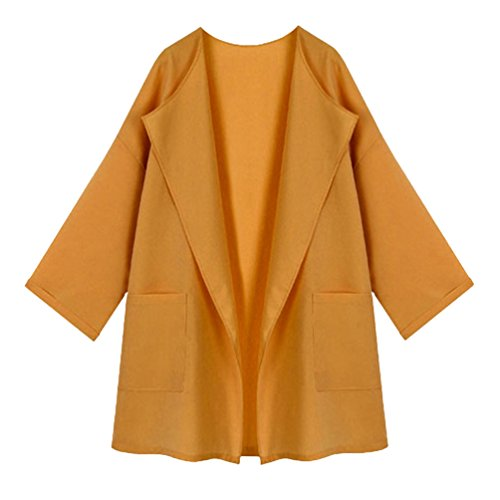 Heheja Donna Cappotto Lungo Invernale Trench Coat Manica Lunga Parka Outwear Giallo