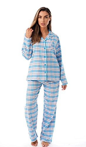 Set Pj Check (Just Love Long Sleeve Flannel Pajama Sets for Women 6760-10359-BLU-S)