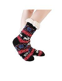 Women's Fuzzy Cozy Warm Fleece Winter Slipper Socks Christmas Non Slip Grippers
