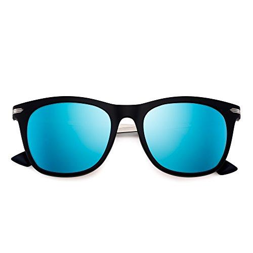 Metal Espejo de Azul Sol Polarizado Anteojos Hombre Retro Negro Mujer Conducir Polarizadas Gafas de Espejo de Cuadradas Templo I1n8z4q4H