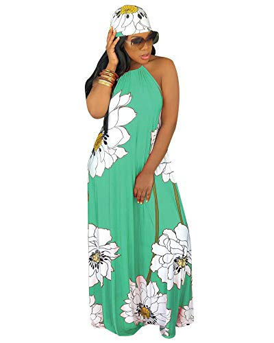 Women Sexy Floral Maxi Dresses- Summer Halter Backless Long Beach Dress with Scarf Green S