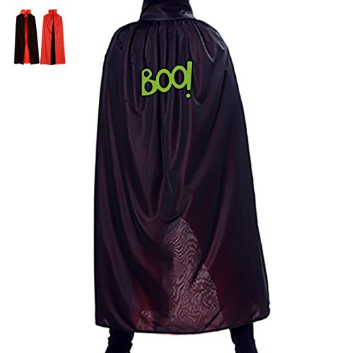 Halloween Green Boo Logo Children Adult Costume Wizard Witch Cloak Robe Cape (Halloween Green Witch Makeup Ideas)