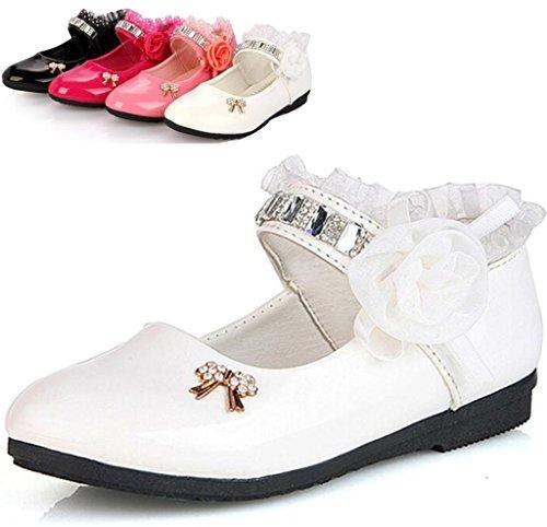 DADAWEN Girls Strap School Uniform Dress Shoe Mary Jane Flowers Flat Shoes (Toddler/Little Kid/Big Kid) White US Size 8 M Toddler