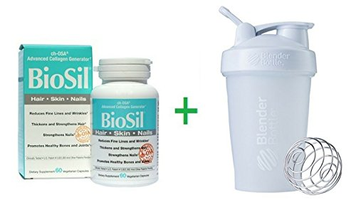 Natural Factors, BioSil, ch-OSA Advanced Collagen Generator, 60 Vegetarian Capsules + Sundesa, BlenderBottle, Classic With Loop, White, 20 oz
