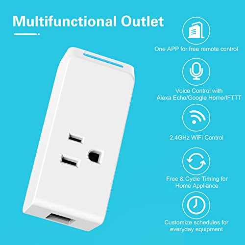 MoKo WiFi Smart Plug, 4 PACK Smart Plug with 2 USB Ports,Smart Outlet Compatible with Alexa Echo,Google Home IFTTT for Voice Control,APP Remote Control with Timer Function, No Hub Required, White