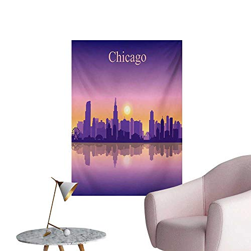 Anzhutwelve Chicago Skyline Photographic Wallpaper Sunset in Illinois American Horizon Behind High City SilhouettesPurple Apricot Pink W32 xL36 Custom Poster -