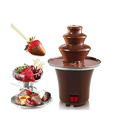 Mini Chocolate Fountain Fondue Set 3 Tiers Extra Deep Drip Tray Hot Melting Pot Base 2 Adjustable Settings and Keep Warm Function Brown