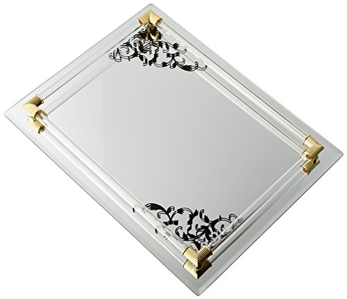 Image of American Atelier Mirror Vanity Tray with Black Scrolls & Gold Accents,12 by 9-Inch