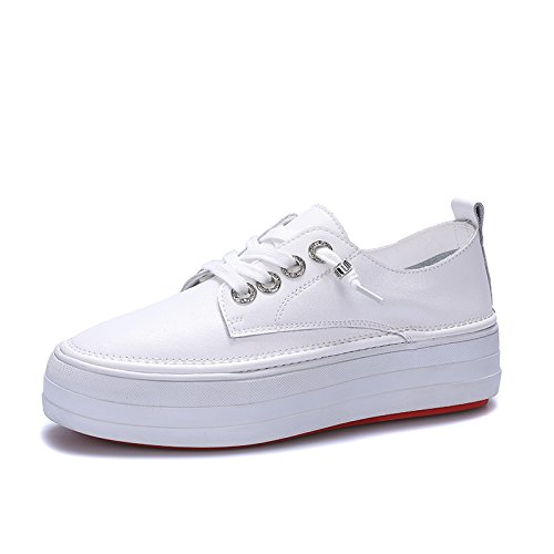QQWWEERRTT Mode Weiße Schuhe Frauen Frühling Neue Plateauschuhe Sohle Schuhe Universal Freizeit Dick-Soled Street Shot Einzelne Schuhe Schuhe