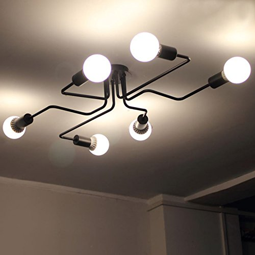 LightInTheBox Wrought Iron 6 Heads Chandeliers Multiple Rod Ceiling Dome Lamp Creative Personality Retro Flush Mount Ceiling Lighting Fixture for Living Room Dining Room
