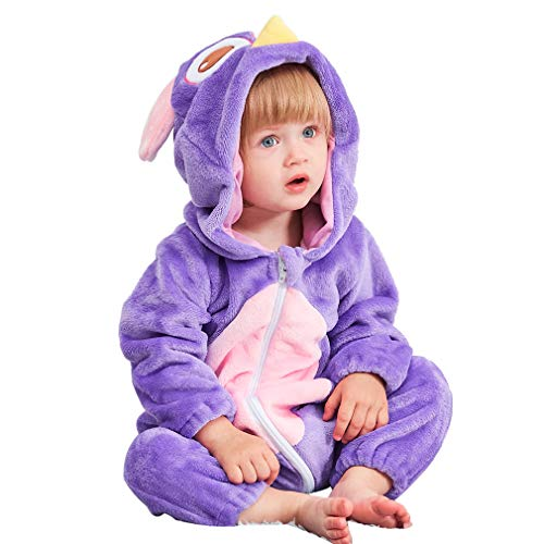 MICHLEY Unisex Baby Boy Girl Hooded Romper Winter Animal Cosplay Jumpsuit Pajamas, Owl, 6-12months, Size 80