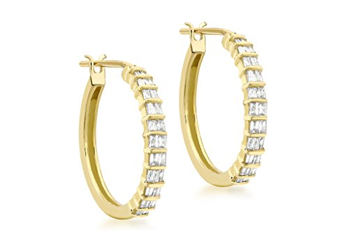 Boucles d'oreilles créoles diamant 0,25ct or jaune 9ct