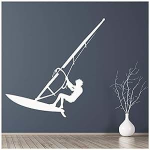 azutura Wind Surfer Vinilos Plancha de windsurf Pegatina Decorativos Pared Deportes marinos Decoración del hogar disponible en 5 tamaños y 25 colores X-Grande Negro