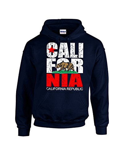 CAMALEN California Republic Most Popular Cali Design Unisex Pullover Hoodie Hooded Sweatshirt(Navy,Medium)