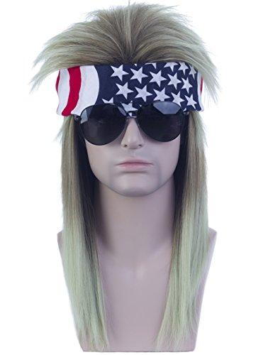 Angelaicos Unisex Mullet Wig 70s 80s Vintage Retro Rocker Disco Long Brown Green Hair Bandana