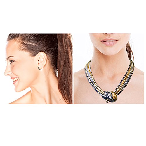 - Allura Multi-colored Knot Necklace and Small Circle Stud Earrings in Silver with Diamante Detail Combo