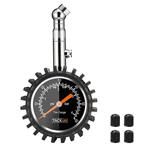 Manomètre Tacklife TPS02S Classique /Manomètre de Pneu /Jauge de Pression des Pneus avec Grand Cadran 60 PSI et rotation à 360 ° Pour Voiture Moto Vélo Camion RV SUV ATV etc good
