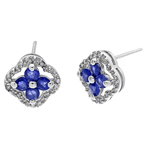 Lavari - 10K White Gold, Blue Sapphire .14 cttw Diamond Round Birthstone Earrings