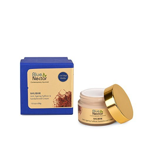Blue Nectar Ayurvedic Anti Ageing Saffron & Sandalwood Face Cream For Skin Firming For Women, 50 Gm by Blue Nectar (Image #2)