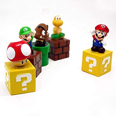 DeQian Super Mario Brothers Birthay Cake Topper, Super Mario Bros Action Figures - Mini Super Mario Bros Figures Mario, Luigi, Mushroom, Goomba, Koopa Troop 2