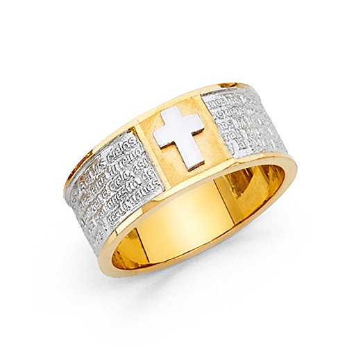 Ioka - 14K Two Tone Solid Gold Lords Prayer Cross Ring - (Id Two Tone Ring)