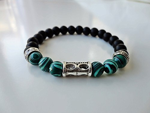[Green Jade Round Beads Stretch Bracelet with Metal Log Medium Size Unisex] (Log Costume)