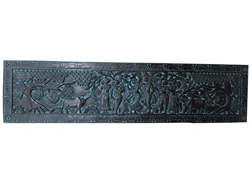 Indian Rustic Wall Panel Radha Krishna Gopis Hand Carved Headboards Panel