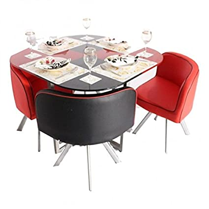 Zampa Four Seater Compact Dinning Table Set Red And Black Colour Amazon In Home Kitchen