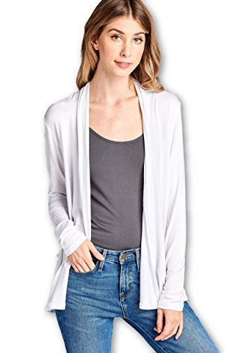 ReneeC. Women's Extra Soft Natural Bamboo Open Front Cardigan – Made in USA (X-Large, White)