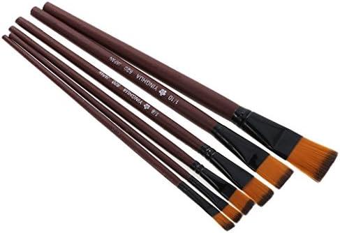 Myoffice ナイロン毛筆 練習 絵画ブラシ 水彩アクリル 描画ペン 木製 6枚